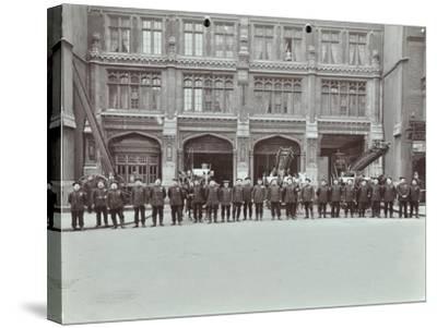 Firemen Lined Up Outside Bishopsgate Fire Station, Bishopsgate, City of London, 1908--Stretched Canvas Print
