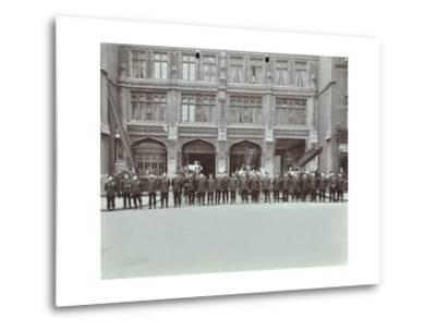 Firemen Lined Up Outside Bishopsgate Fire Station, Bishopsgate, City of London, 1908--Metal Print