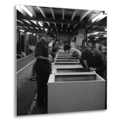 Fridge Assembly Line at the General Electric Company, Swinton, South Yorkshire, 1964-Michael Walters-Metal Print