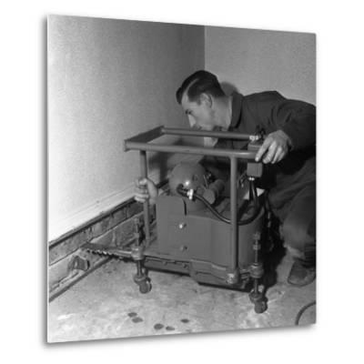 Installing a Damp Proof Course in a House in Goldthorpe, South Yorkshire, 1957-Michael Walters-Metal Print
