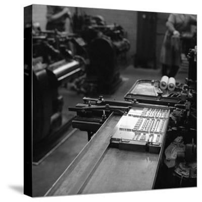Type Being Set at the White Rose Press, Mexborough, South Yorkshire, 1968-Michael Walters-Stretched Canvas Print