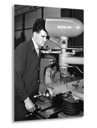 Worker Using a Cutting Machine, Egdar Allen Steel Foundry, Sheffield, South Yorkshire, 1964-Michael Walters-Metal Print