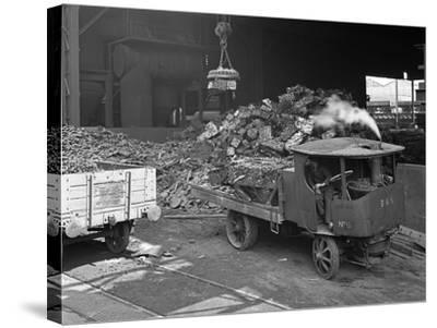 Loading a Steam Wagon with Scrap at a Steel Foundry, Sheffield, South Yorkshire, 1965-Michael Walters-Stretched Canvas Print