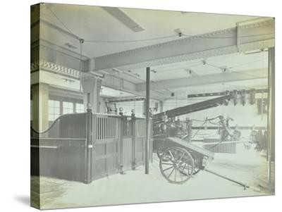Interior of Appliance Room, Northcote Road Fire Station, Battersea, London, 1906--Stretched Canvas Print