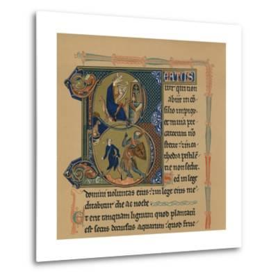 Miniature Initial and Part of a Page from a Psalter, (13th Century), 1901--Metal Print