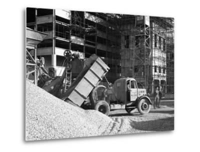 Early 1950S Bedford M Tipper Delivering Aggregates to a Building Site, South Yorkshire, July 1954-Michael Walters-Metal Print