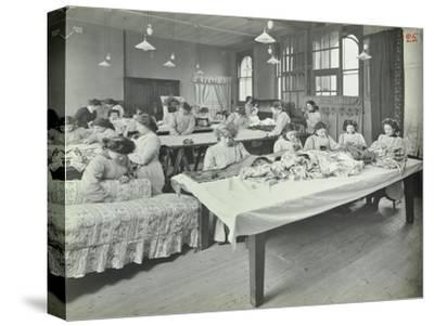 An Upholstery Class for Female Students at Borough Polytechnic, Southwark, London, 1911--Stretched Canvas Print
