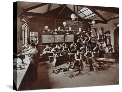 Boys Making Shoes at the Anerley Residential School for Elder Deaf Boys, Penge, 1908--Stretched Canvas Print