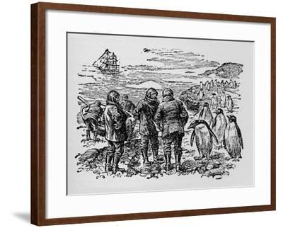 Landed on a Small Island Inhabited by Myriads of Penguins, C1918--Framed Giclee Print