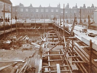 Men Building the Camden Town Sub-Station, London, 1908--Premium Photographic Print