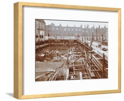 Men Building the Camden Town Sub-Station, London, 1908--Framed Premium Photographic Print