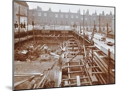 Men Building the Camden Town Sub-Station, London, 1908--Mounted Premium Photographic Print