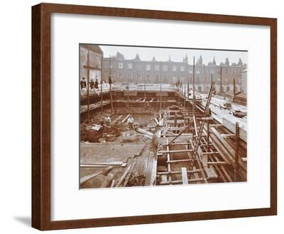 Men Building the Camden Town Sub-Station, London, 1908--Framed Premium Photographic Print