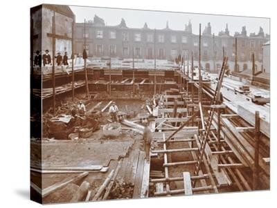 Men Building the Camden Town Sub-Station, London, 1908--Stretched Canvas Print