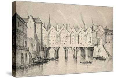 The Pont St Michel in 1550, 1915--Stretched Canvas Print