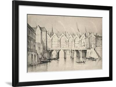 The Pont St Michel in 1550, 1915--Framed Giclee Print