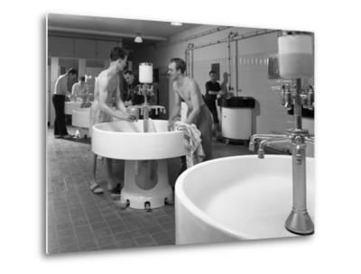 Workers in the Washroom Facility at a Steelworks, Rotherham, South Yorkshire, 1964-Michael Walters-Metal Print