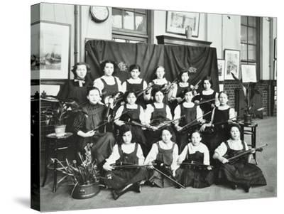Girls Swimming Championship Team with their Shield, Tollington Park Central School, London, 1915--Stretched Canvas Print