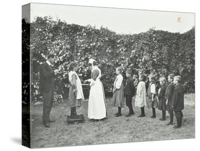 Children Being Weighed in the Garden, Montpelier House Open Air School, London, 1908--Stretched Canvas Print