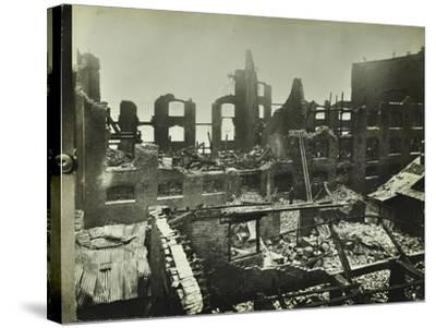Burnt-Out Building, Concordia Wharf, Poplar, London, 1924--Stretched Canvas Print