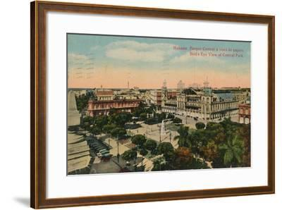 Birds-Eye View of Central Park, Havana, Cuba, C1919--Framed Giclee Print