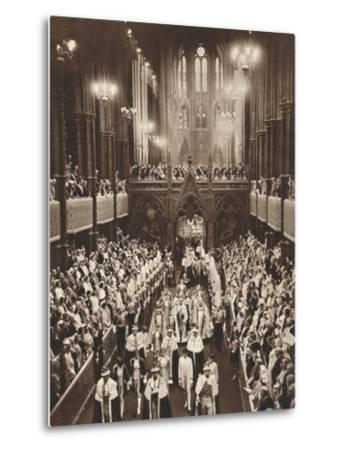 King George Vis Coronation Procession, Westminster Abbey, 1937--Metal Print