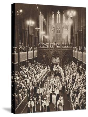 King George Vis Coronation Procession, Westminster Abbey, 1937--Stretched Canvas Print