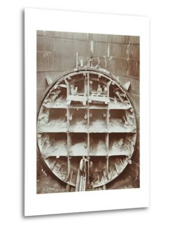 Men Standing in the Cutting Shield, Rotherhithe Tunnel, Stepney, London, August 1907--Metal Print