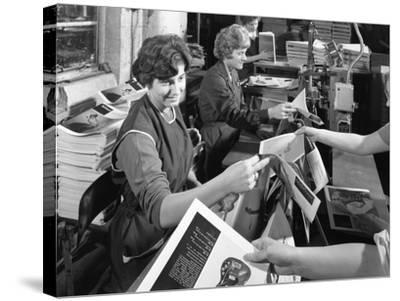 The Binding Room at a Printing Company, Mexborough, South Yorkshire, 1959-Michael Walters-Stretched Canvas Print