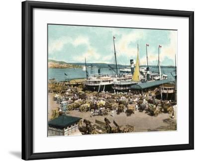 Muelle De Luz Harbour with Ferries, Havana, Cuba, 1904--Framed Giclee Print