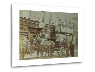 Horse-Drawn Omnibus and Passengers, London, 1900--Metal Print