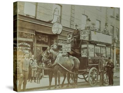 Horse-Drawn Omnibus and Passengers, London, 1900--Stretched Canvas Print