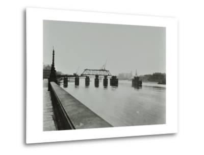 Temporary Bridge over the River Thames Being Dismantled, London, 1948--Metal Print