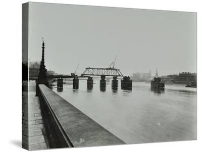 Temporary Bridge over the River Thames Being Dismantled, London, 1948--Stretched Canvas Print