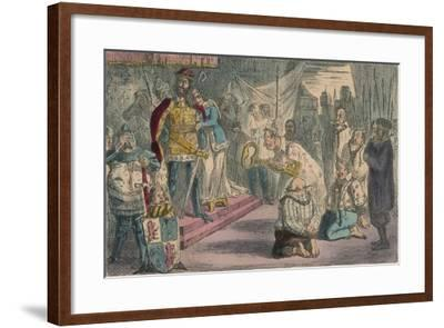 Queen Philippa Interceding with Edward III for the Six Burgesses of Calais, 1850-John Leech-Framed Giclee Print