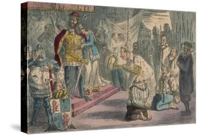 Queen Philippa Interceding with Edward III for the Six Burgesses of Calais, 1850-John Leech-Stretched Canvas Print