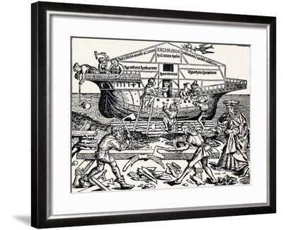 The Building of the Ark Superintended by Noah, (1493), 1903-Hartmannus Schedel-Framed Giclee Print
