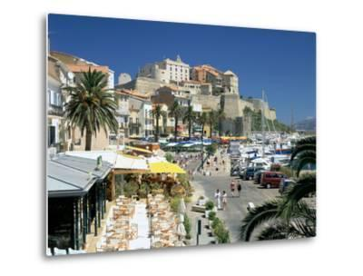 Restaurants in the Old Port with the Citadel in the Background, Calvi, Corsica-Peter Thompson-Metal Print
