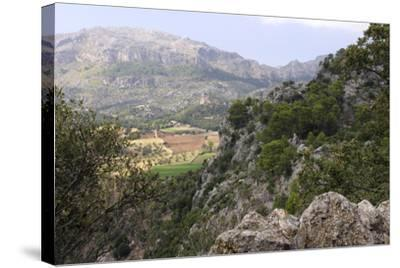 Mountain Scenery Near Lluc, Mallorca-Peter Thompson-Stretched Canvas Print