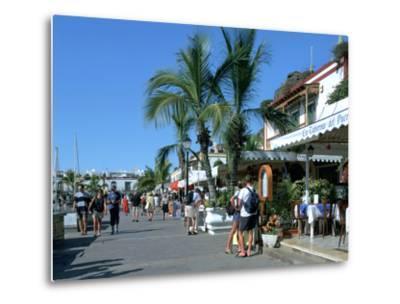 Tourists Checking Out a Restaurant Menu, Puerto De Mogan, Gran Canaria, Canary Islands-Peter Thompson-Metal Print