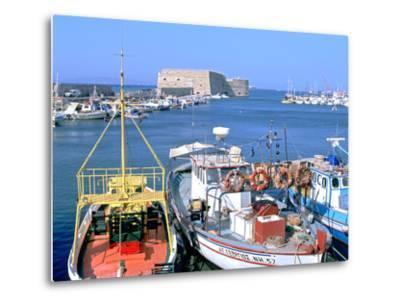 Venetian Harbour and Koules Fortress, Heraklion, Crete, Greece-Peter Thompson-Metal Print