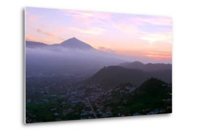 Sunset Behind Mount Teide, Volcano on Tenerife, Canary Islands, 2007-Peter Thompson-Metal Print