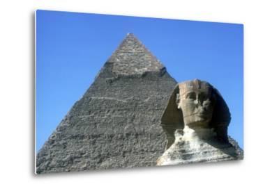 The Sphinx and Pyramid of Khafre (Chephren), Giza, Egypt, 4th Dynasty, 26th Century Bc-CM Dixon-Metal Print