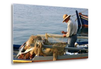 Man on Board a Fishing Boat, Sami, Kefalonia, Greece-Peter Thompson-Metal Print