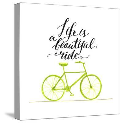 Inspirational Quote - Life is a Beautiful Ride. Handwritten Modern Calligraphy Poster with Green Ha-kotoko-Stretched Canvas Print