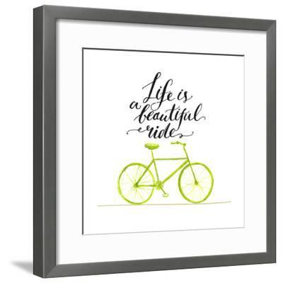 Inspirational Quote - Life is a Beautiful Ride. Handwritten Modern Calligraphy Poster with Green Ha-kotoko-Framed Premium Giclee Print