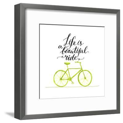 Inspirational Quote - Life is a Beautiful Ride. Handwritten Modern Calligraphy Poster with Green Ha-kotoko-Framed Art Print
