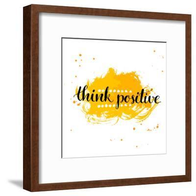 Modern Calligraphy Inspirational Quote - Think Positive - at Yellow Watercolor Background.-kotoko-Framed Art Print