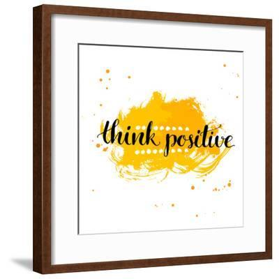 Modern Calligraphy Inspirational Quote - Think Positive - at Yellow Watercolor Background.-kotoko-Framed Premium Giclee Print