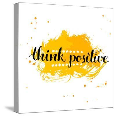 Modern Calligraphy Inspirational Quote - Think Positive - at Yellow Watercolor Background.-kotoko-Stretched Canvas Print
